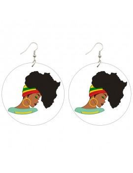 Wood Earring African Printed 1